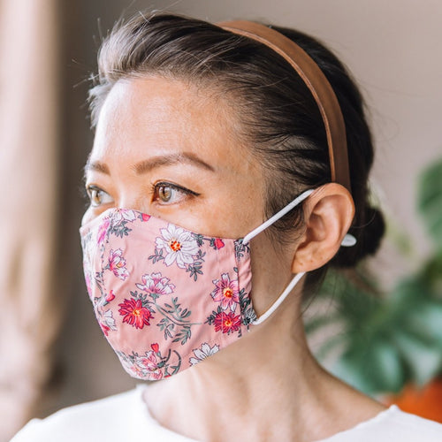 Daisy Pink Cotton Face Mask