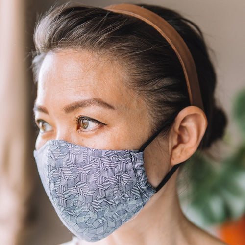 Chevron Cube Navy Cotton Face Mask