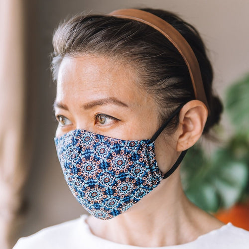 Morocco Blue Cotton Face Mask