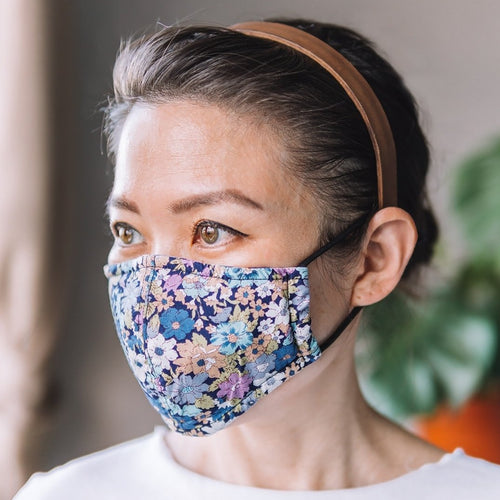 Peony Blue Cotton Face Mask