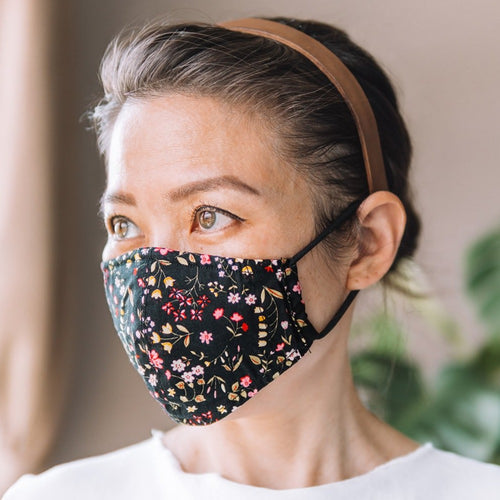Marigold Black Cotton Face Mask