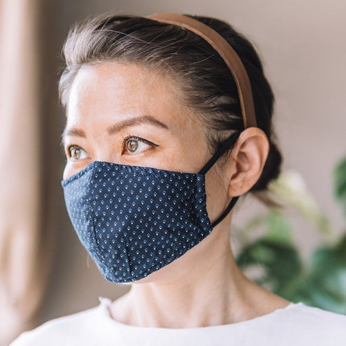 Arrows Navy Cotton Face Mask