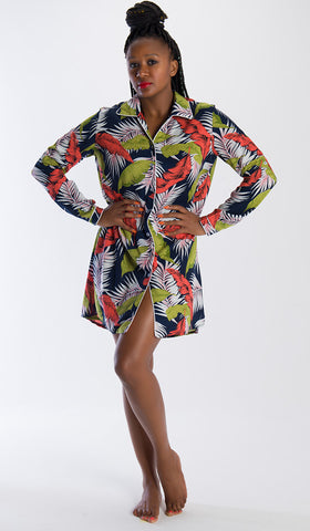 The Michelle Night Shirt Navy Palm