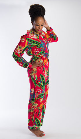 Eva Long Pyjamas Red Palm