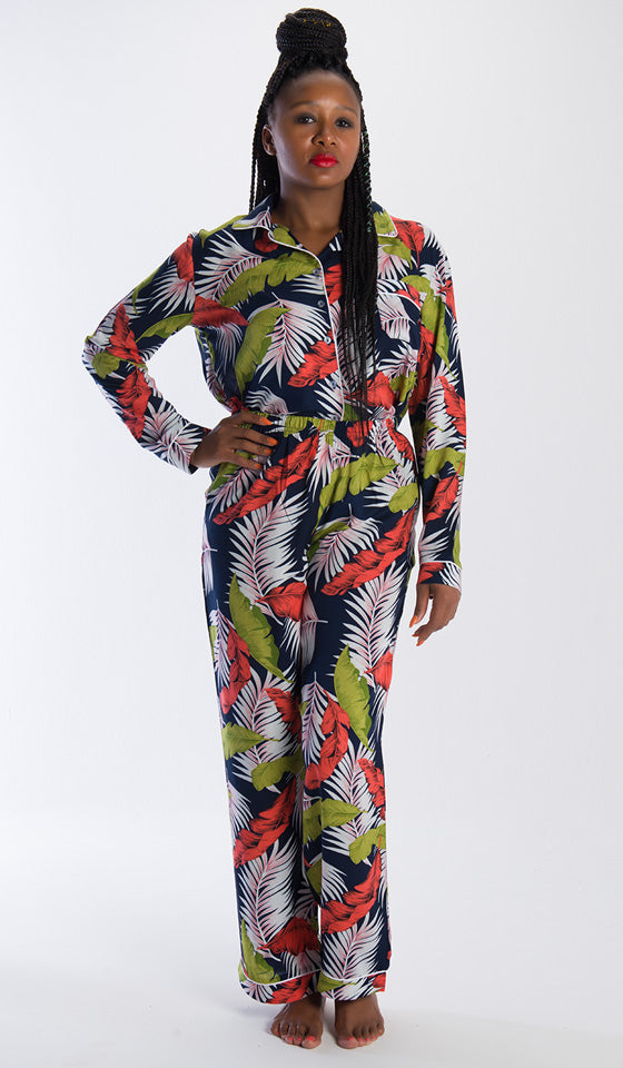 Eva Long Pyjamas Navy Palm