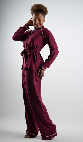The Teresa Pyjamas Burgundy/Cream