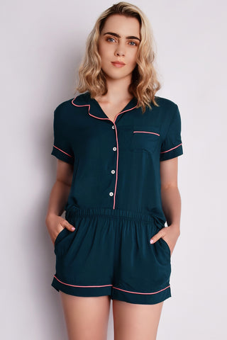 Claire Short Pyjamas Teal/Coral