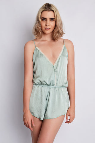The Olga Playsuit Dusty Mint | Claudia Moruzzi Designs - Luxury Sleepwear