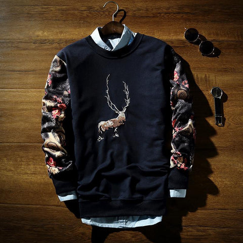 Crew Neck Sweatshirt With Print - TakeClothe