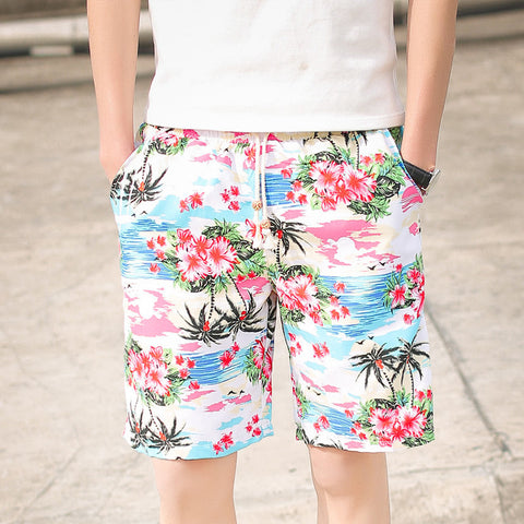 Mid Length Swim Shorts With Tropical Print - TakeClothe
