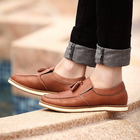 Leather Tassel Loafers (2 Colors) - TakeClothe - 1