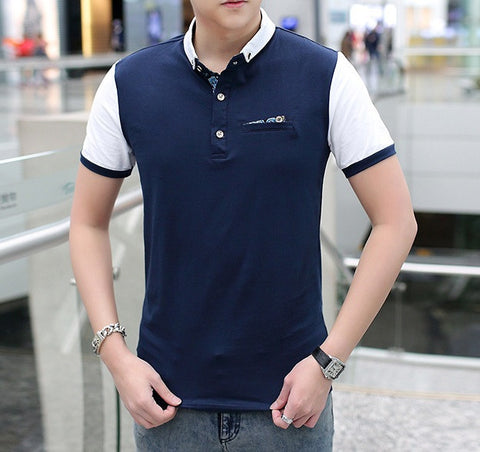 Polo Shirt With Contrast Sleeves and Pocket - TakeClothe
