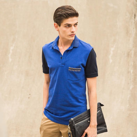 Exclusive Polo with With Contrast Sleeves and Pocket - TakeClothe - 1