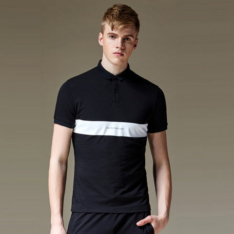 Polo Shirt With Horizontal Cut And Sew - TakeClothe