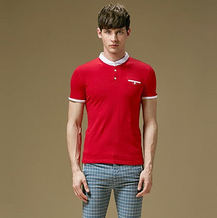 Polo Shirt With Contrast Collar and Pocket (3 Colors) - TakeClothe - 1