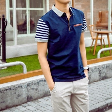 Polo Shirt With Contrast Sleeves and Pocket (3 Colors) - TakeClothe - 1