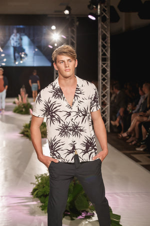 KINN 398 Collection Short sleeved Palm Print pocket shirt