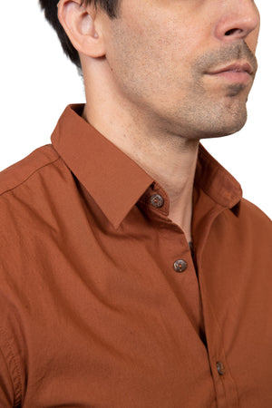 KINN 398 Collection Short sleeved Slim fit shirt in rust colour