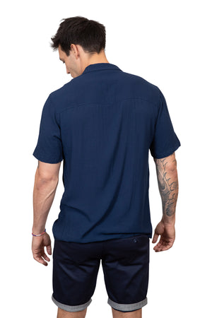 KINN 398 Collection Short sleeved navy relaxed fit pocket shirt