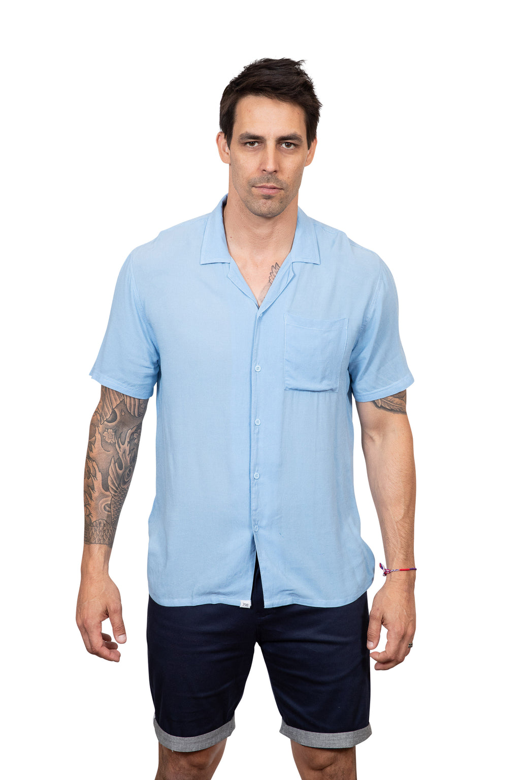 KINN 398 Collection Short sleeved Sky Blue relaxed fit pocket shirt