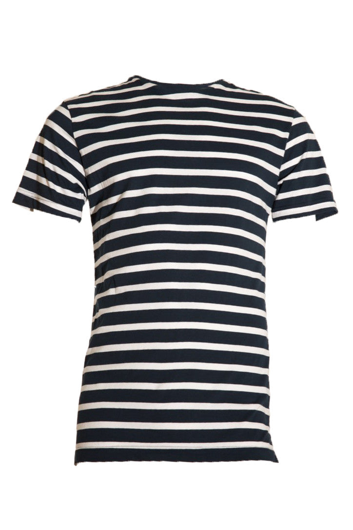 KINN short sleeve long line tee - Navy and White stripe