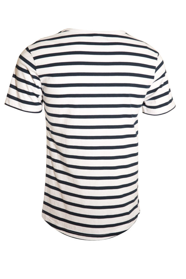 KINN short sleeve long line tee - White and Navy stripe