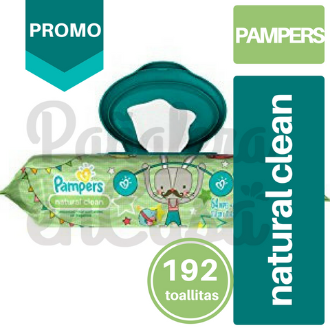 Toallitas PAMPERS Natural Clean x64 PACK x3