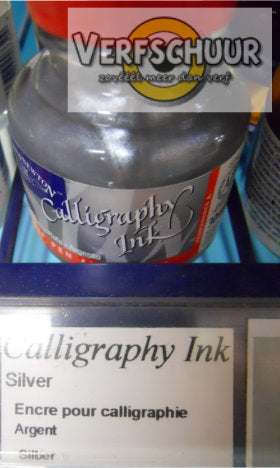 W&N. CALLIGRAPHY INK 30 ML. argent ! bouchon rouge 1110617