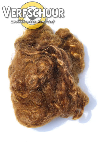 Auburn brown long wave mohair haar