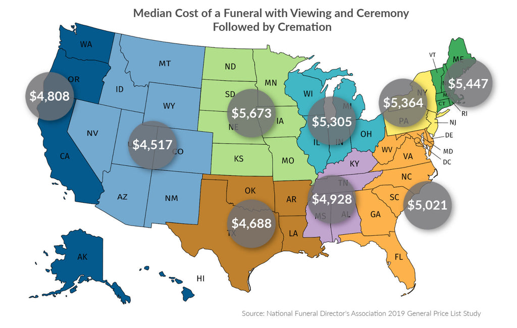cremation cost map