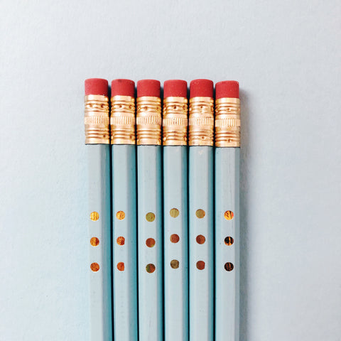 Good Twin Blue Pencils with Gold Dot