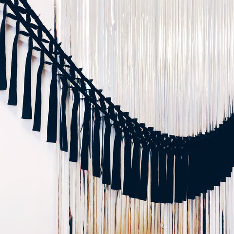 Black Fringe Tissue Garland