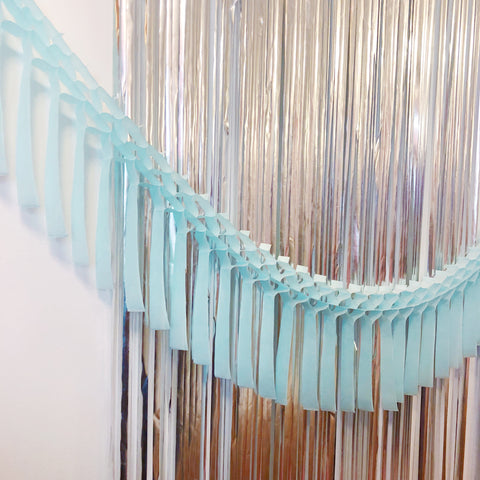 Light Blue Fringe Tissue Garland