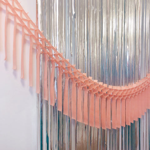 Peach Fringe Tissue Garland