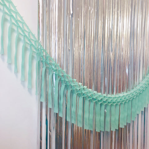 Mint Fringe Tissue Garland