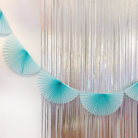 Pastel Blue Fan Tissue Garland