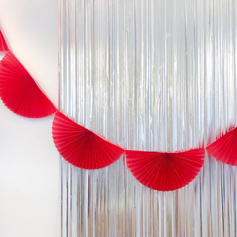 Red Fan Tissue Garland