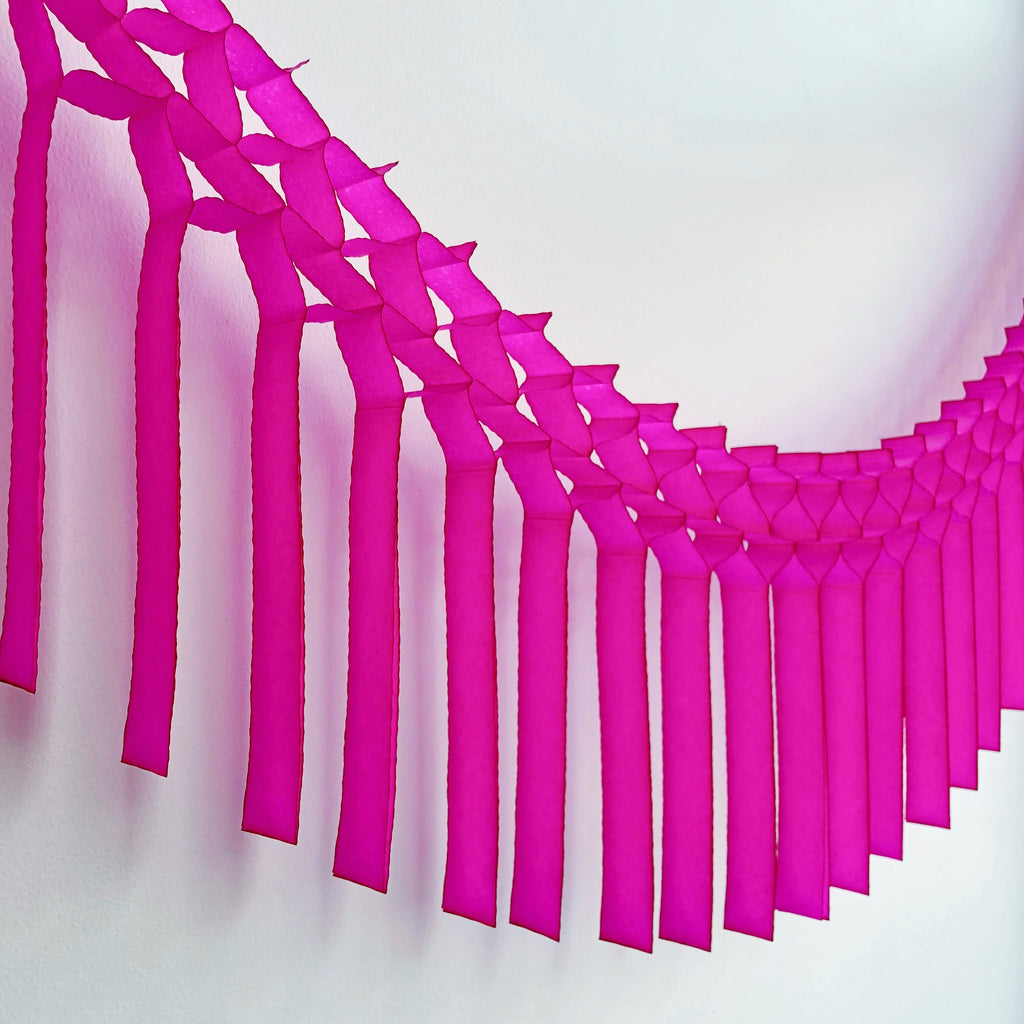 Hot Pink Fringe Tissue Garland