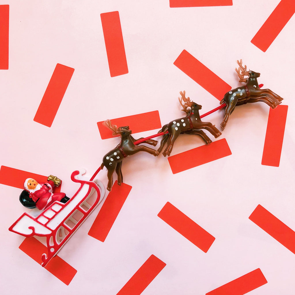 Tiny Santa Sleigh and Reindeer