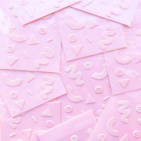 Pink Puffy Stickers