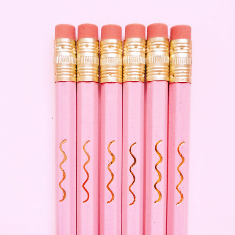 Good Twin Pink Pencils with Gold Squiggle