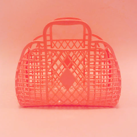 Jelly Retro Basket - Large Coral