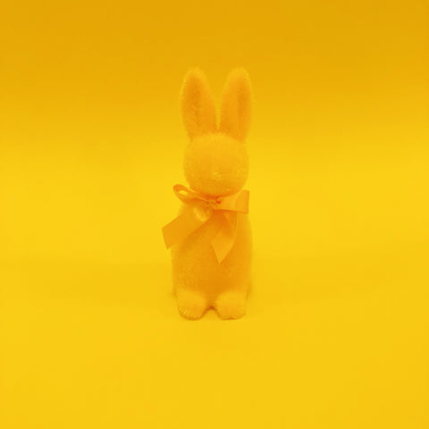Fuzzy Bunny with Bow - Yellow