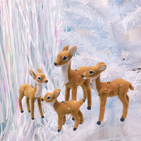 Furry Reindeer Ornament Family