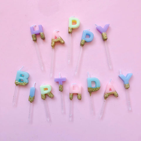Happy Birthday Candle Set - Pastel Rainbow