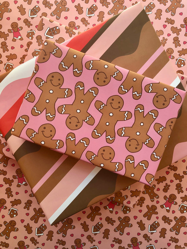 Gingerbread Line Dance Gift Wrap - Holiday 2019