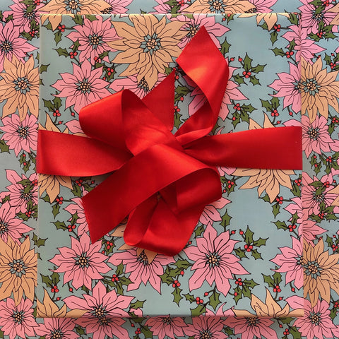 Pink Poinsettias Gift Wrap - Holiday 2019