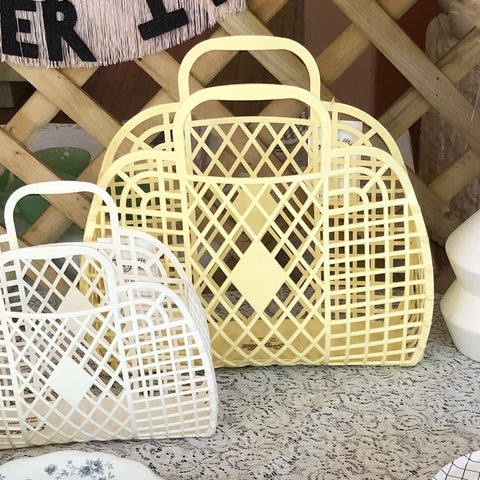 Jelly Retro Basket - Large Butter Yellow