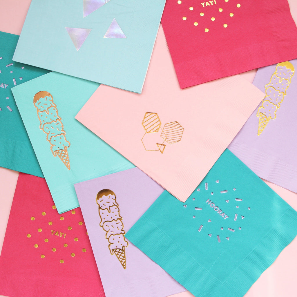Geometric Foil Napkins - Cotton Candy Pink