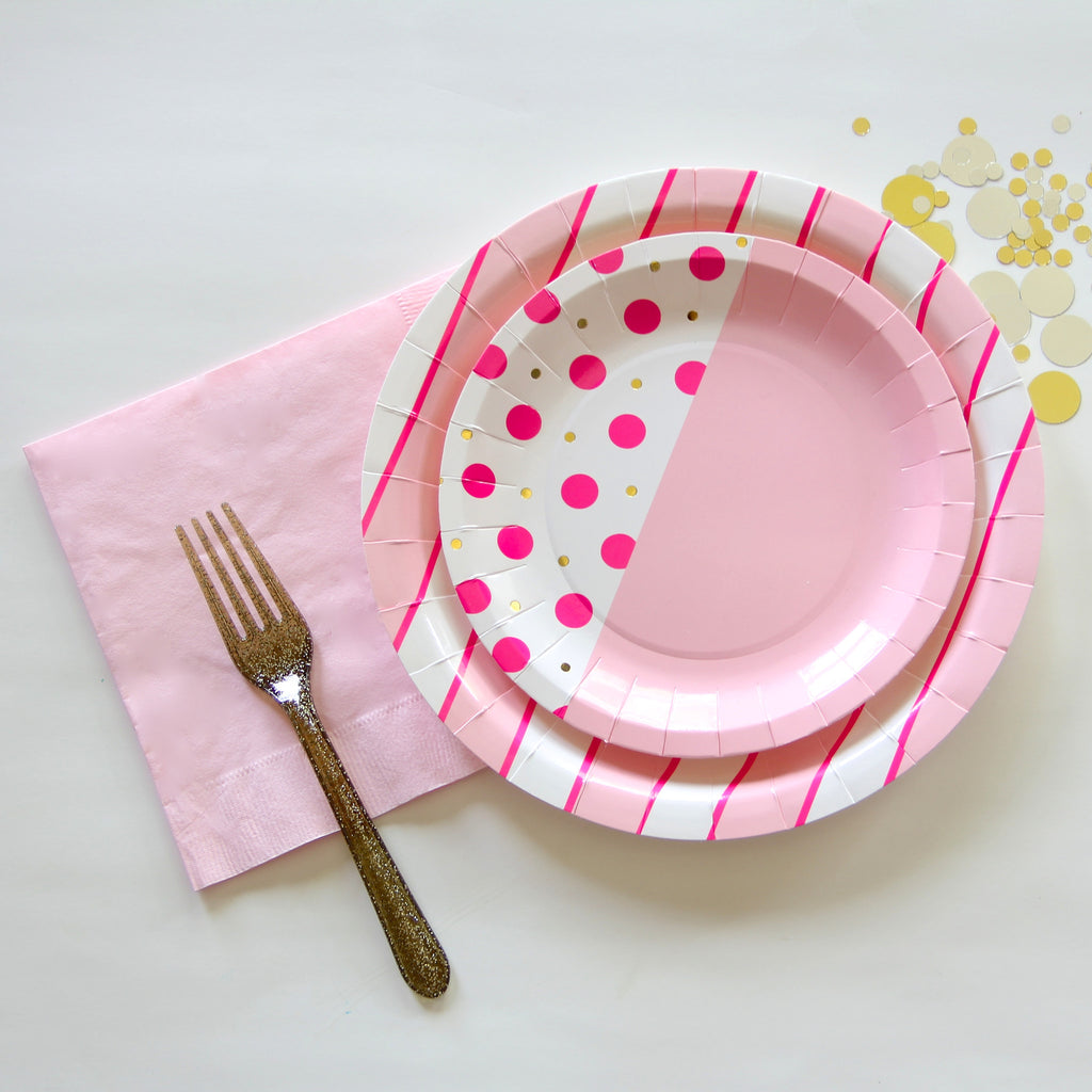 Flamingo Dot Small Plates & Flamingo Pink Cake Plates - pastel neon and gold foil